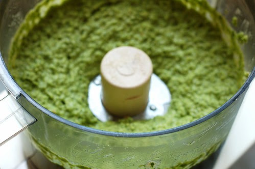 Garlic scape pesto by Eve Fox, Garden of Eating blog, copyright 2012