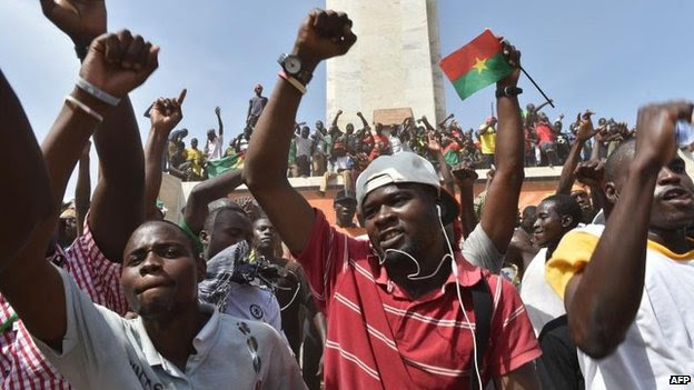 People celebrate in Ouagadougou, 31 Oct