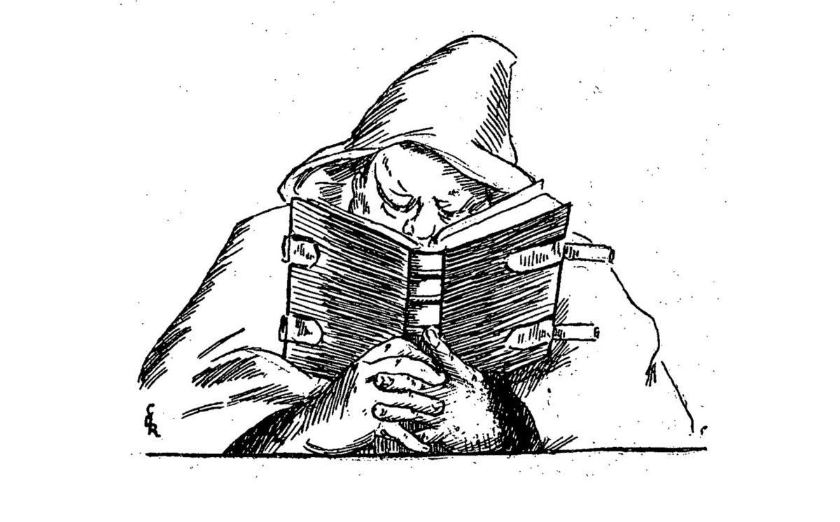 """Claire Demolder, vignette représentant Eugène Demolder lisant, pour la revue """"Le Mercure de France"""", n°112, avril 1899, p.165, pour «Aimienne» de Jean le Tinan ; reprise notamment dans le n°115, juillet 1899, p.169, pour «La Route d'émeraude» d'Eugène Demolder ; reprise également dans la « table des matières», p.860."""