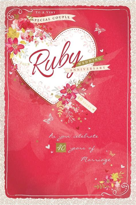 Ruby 40th Wedding Anniversary Card   Red Heart, Flowers
