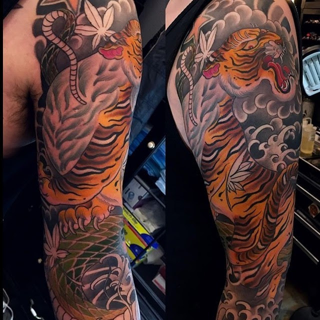 In Progress Traditional Japanese Tiger Sleeve Remington Tattoo Parlor