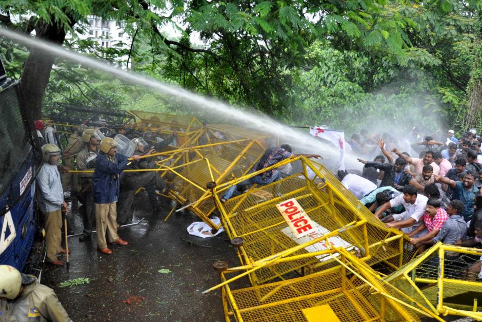 Water cannons and tear gas used to disperse protesters