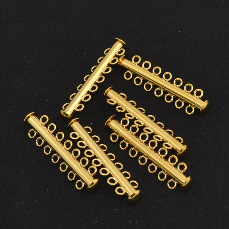 23402021 Findings - Clasps - 7 Strand Tube Clasp - Gold Plated (1)