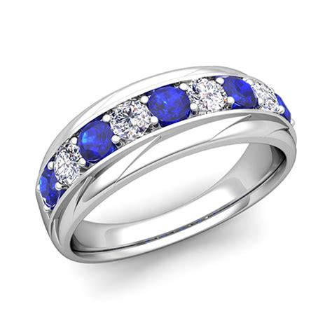 love diamond  sapphire mens wedding band ring