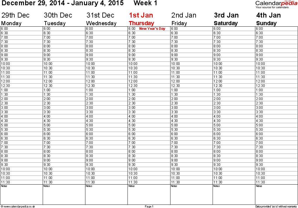 Weekly calendar 2015 UK - free printable templates for Word