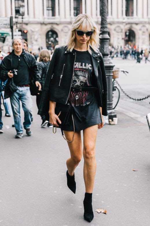 Le Fashion Blog Shop Band T Shirt Trend Via Collage Vintage Street Style Model Fashion Skirt Ankle BootsKarolina Kurkova