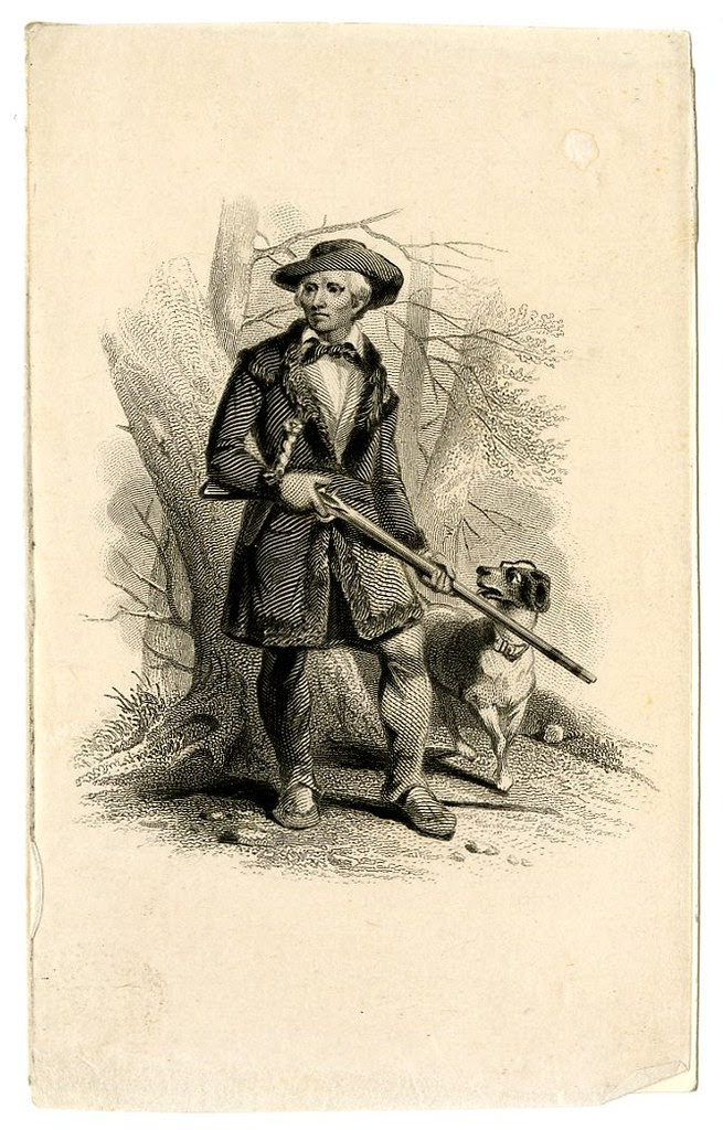 Hunter accompanied by dog. Design printed in black. (19th c)