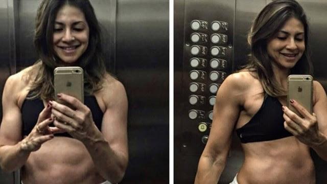 """A nutricionista Gabriela Zugliani exibe a barriga """"tanquinho"""" aos 8 meses de gestação"""