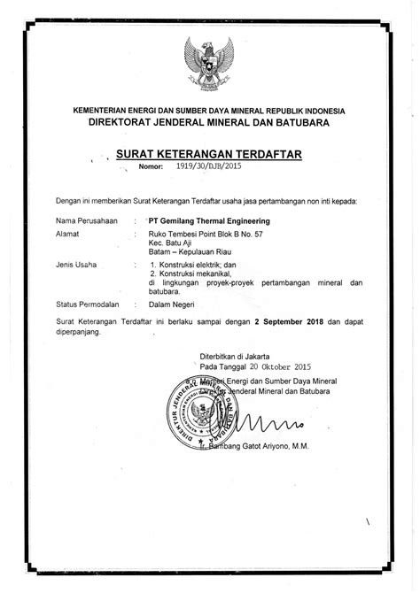 Certification | PT. Gemilang Thermal Engineering