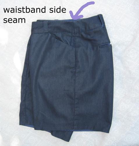 Denim shorts flat side seam