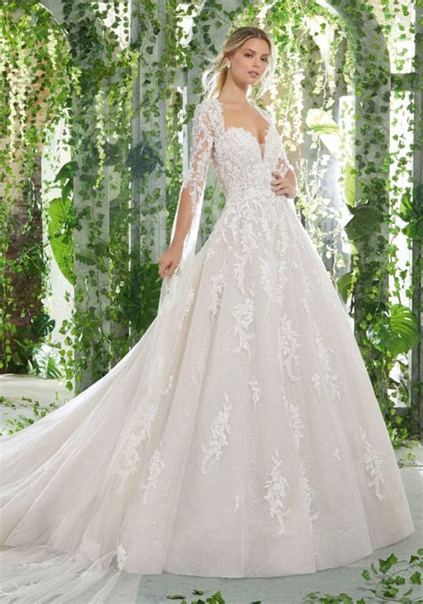 Crystallized Embroidery on Tulle Wedding Gown   Style 2874