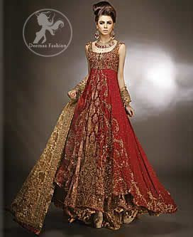 Red Double Layer Front Open Bridal Gown   Deemas