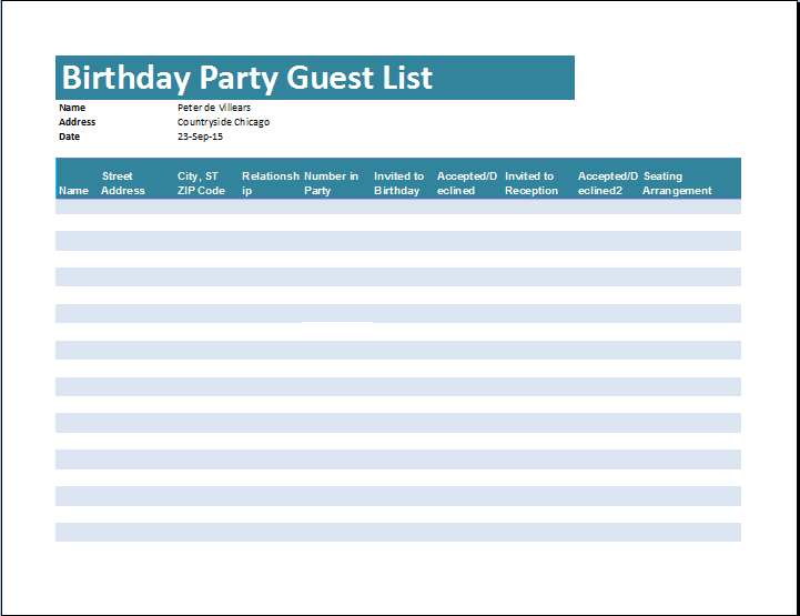 Birthday Party Guest List Template Word Excel Templates