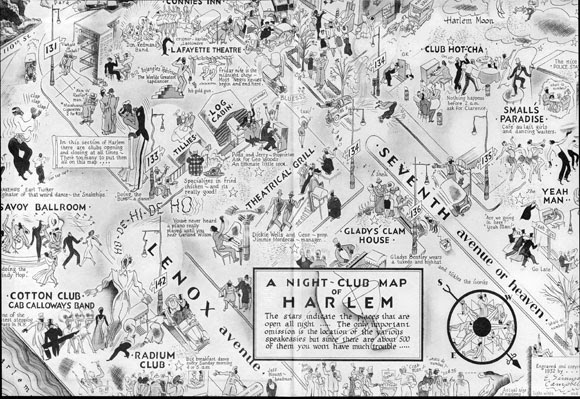 Night club map of Harlem in the 1930s