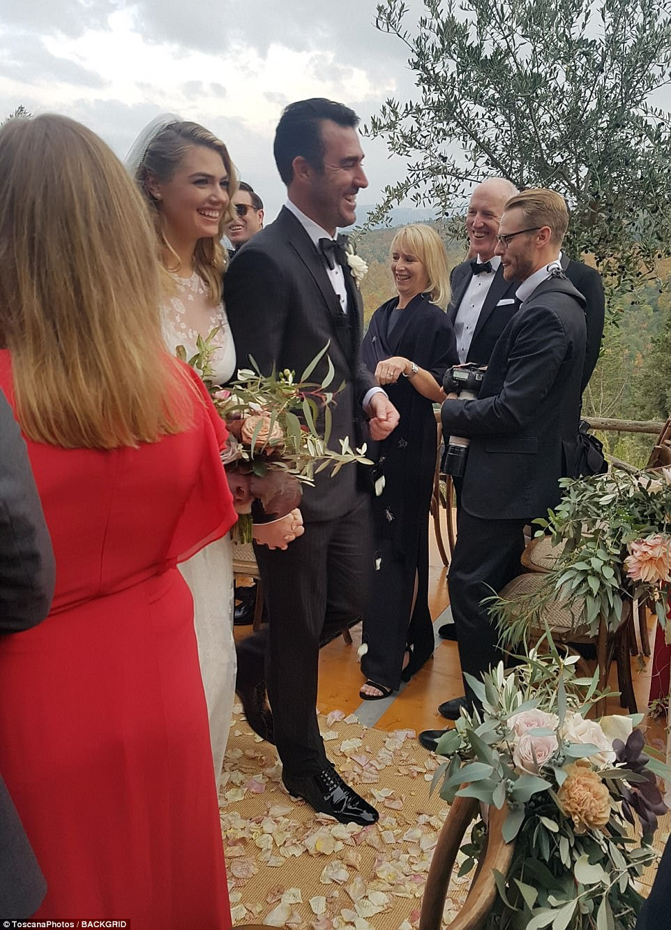 Fairy tale: Kate and Justin walked down the aisle together after they said their I do's