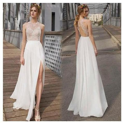 Beautiful White Side Split Cheap Simple Beach Wedding