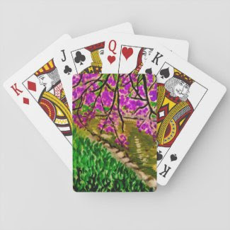 Cherry Blossom Impressionism Art on Playing Cards