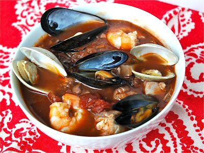 Cioppino Seafood Soup (recipe for broth, to freeze) then heat it up with whatever seafood desired.