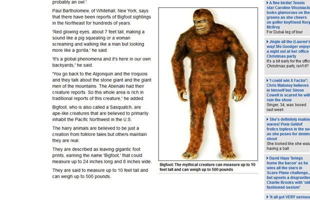 Ilustração da criatura mítica conhecida como 'Bigfoot' (Foto: Reprodução)