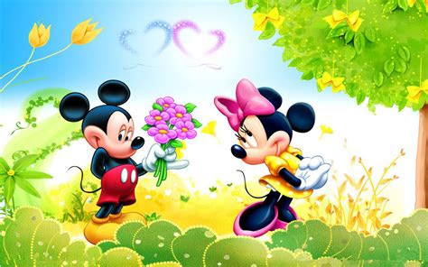 cartoon fil shy mickey mouse butket meadow flowers