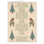 humorous christmas poem robin and xmas tree greeting card
