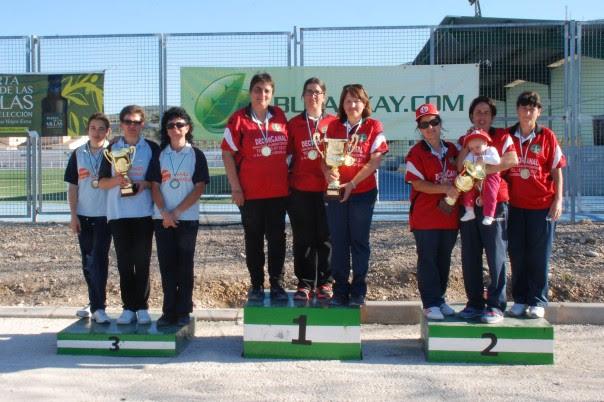 Podium femenino campeonatos andalucia bolo andaluz equipos 2014