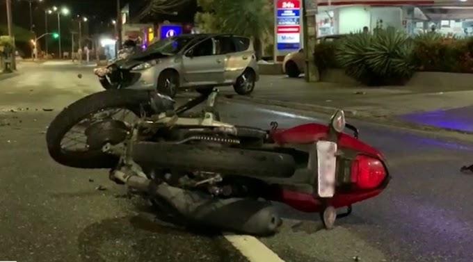 Câmera de segurança mostra a colisão em que policial militar da Paraíba bate em motoqueiro
