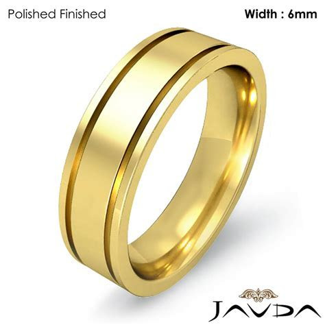 Men Wedding Solid Band 14k Yellow Gold Flat Fit Plain Ring