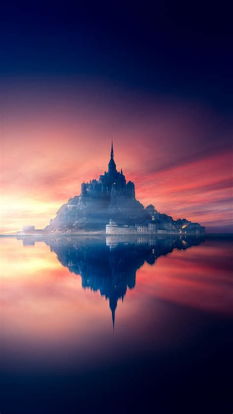 wallpaper castle sunset reflections hd  photography