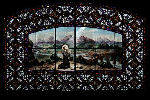 Autochromed stained glass window of Saint Francis Xavier, at the White House Retreat, in Oakville, Missouri, USA