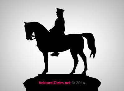 Vektörel çizim At üzerinde Atatürk