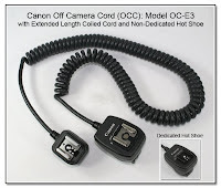 OC1019: Canon Off Camera Cord (OCC): Model OC-E3 with Extended Length Coiled Cord and Non-Dedicated Hot Shoe (Dedicated Hot Shoe Shown in Inset)