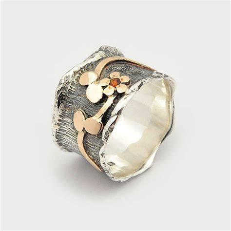 Garnet Flower Ring, Garnet Wave Ring, Gift For Her, Flower