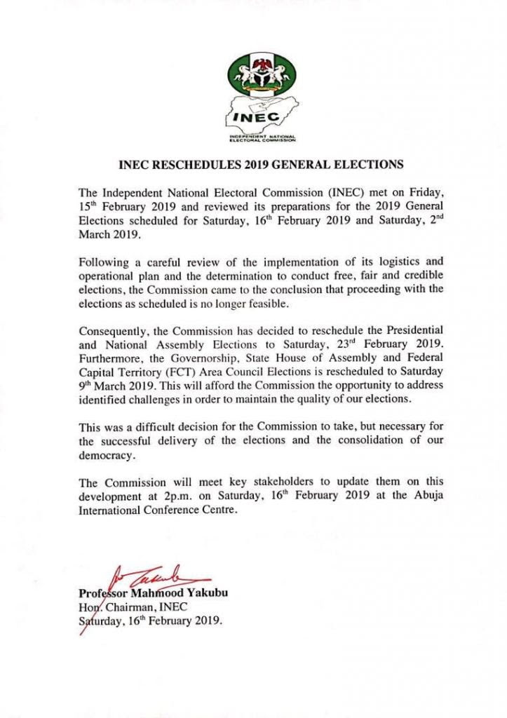 INEC Rescheduled Letter
