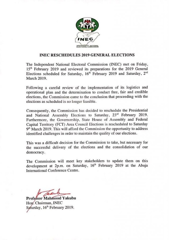(Must See) INEC Released An Official Rescheduled Of Election Letter