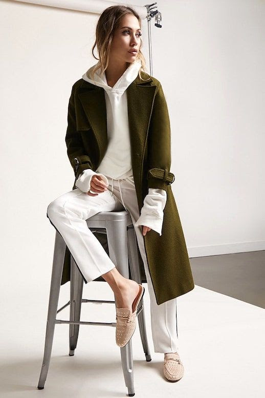How To Wear A Hooded Sweatshirt Hoodie Trend Green Coat Side Stripe Track Pants Studded Loafers Fall Outfit Inspiration Forever21 Le Fashion Blog
