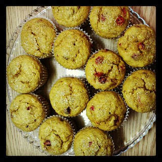 Since it's summer, I'm making fall...pumpkin cranberry muffins