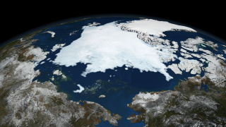 Image of Arctic sea ice on September 12, 2008.