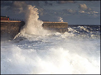 Waves crashing against Admiralty Pier in Dover (picture supplied by Peter Kesby to the BBC)