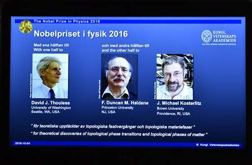 Weird science: 3 win Nobel for unusual states of matter
