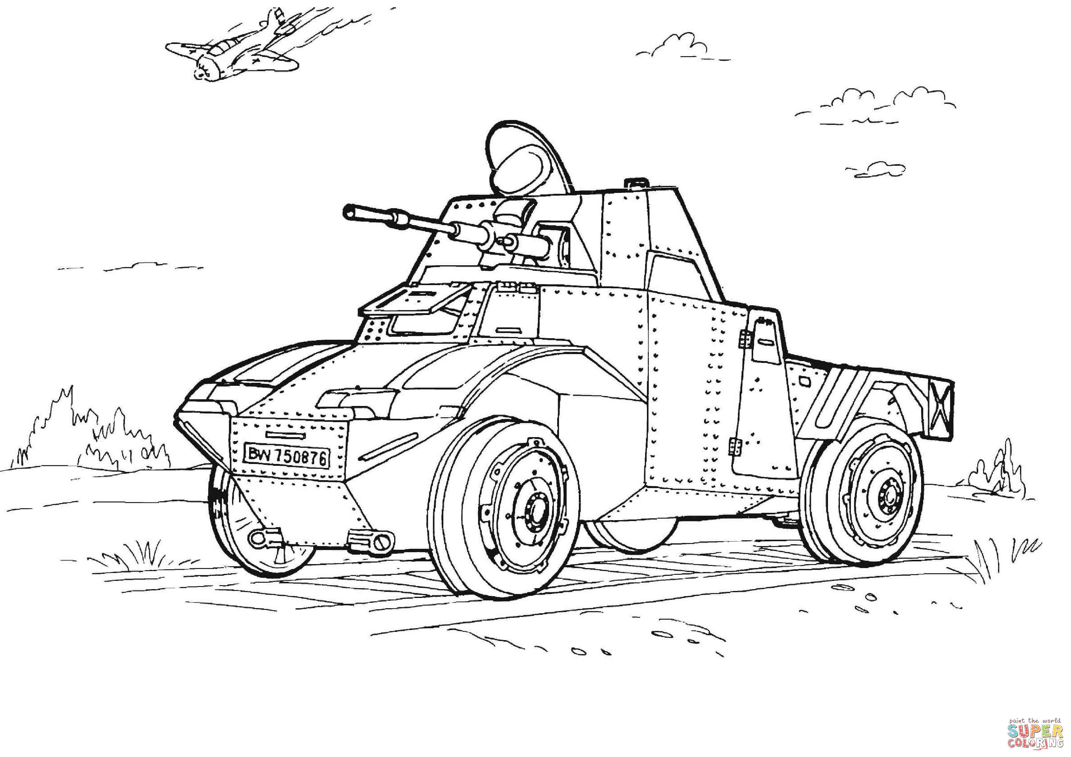 Military Armored Car coloring page | Free Printable ...