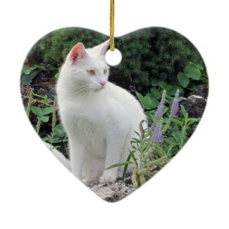 Cat Photo Heart Ornament Two Sided Animal Lover