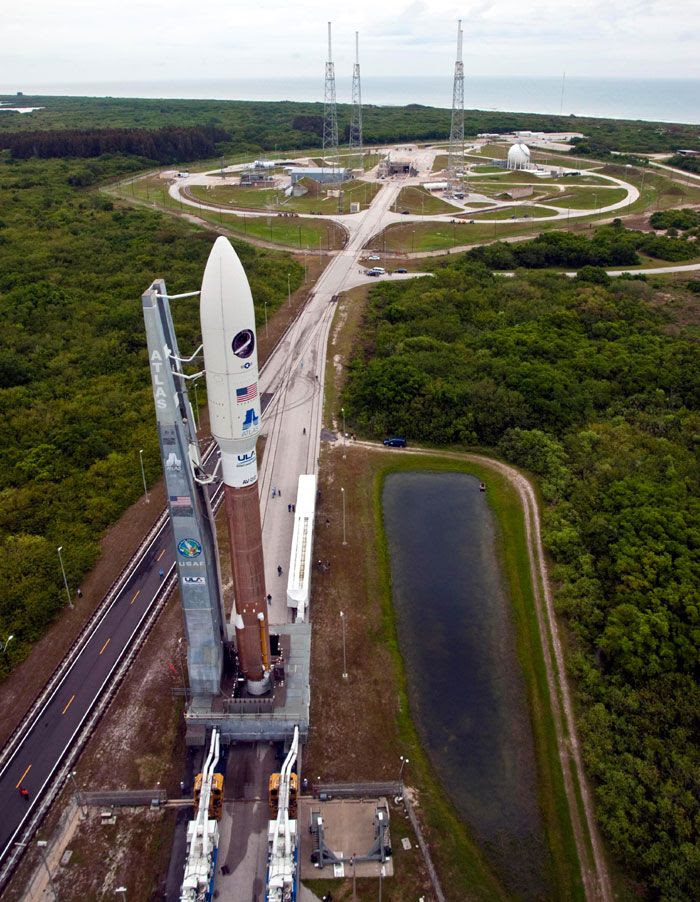 The Atlas V rocket carrying the OTV rolls out to Space Launch Complex 41 at the Cape Canaveral Air Force Station in Florida, on April 21, 2010.