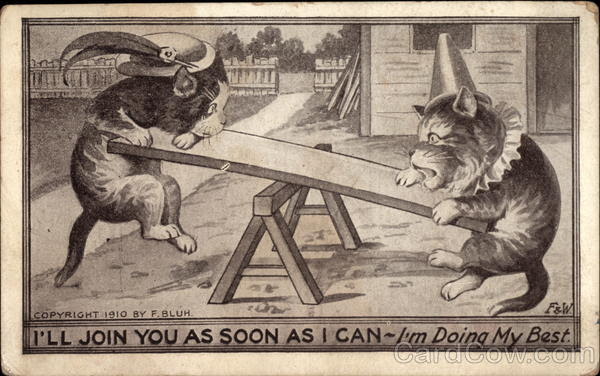 Cats in Hats on a See Saw Antique Postcard