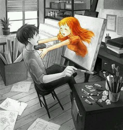 anime art artist painter painting coming  life