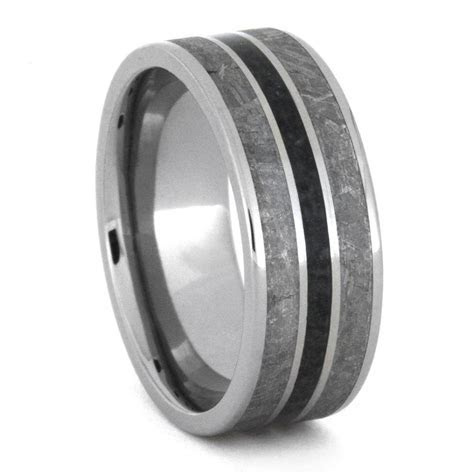 Meteorite Wedding Band with Crushed Onyx, Mens Titanium