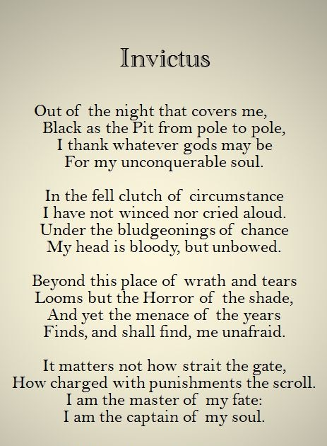invictus by william ernest henley pdf