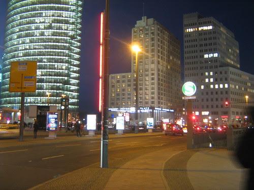 Berlin buildings at night