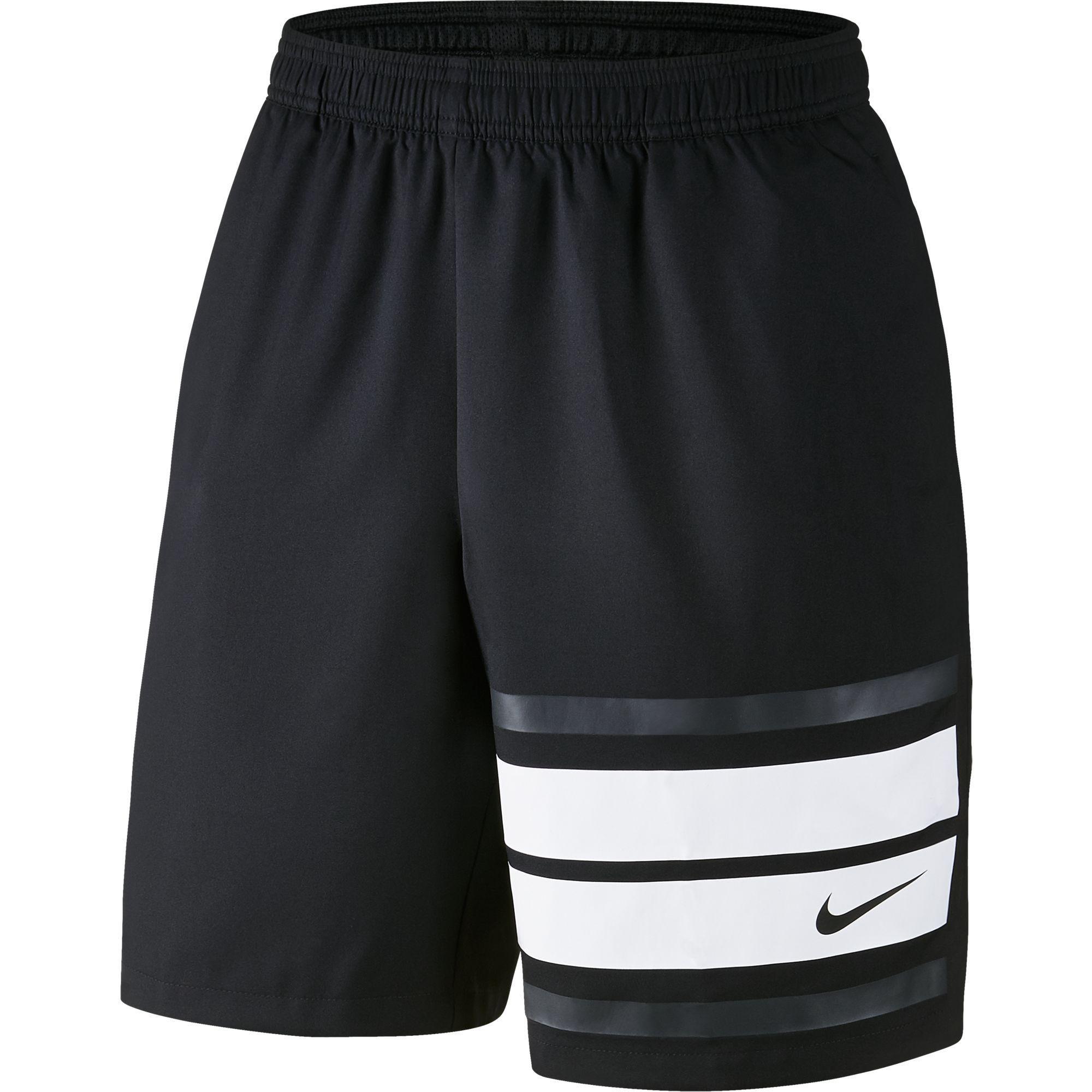 "nike mens court graphic 9"" tennis shorts  black"