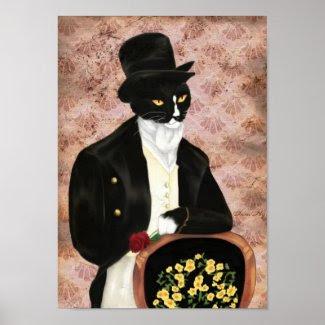 Mr Darcy Cat Holding Rose Print print